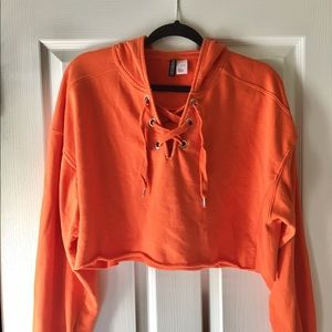 H&M Orange Cropped Oversized Hoodie